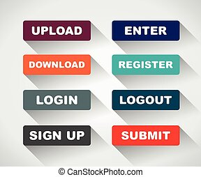 buttons - Web UI icon elements- Login, Sign up, Submit,...