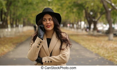 A beautiful girl walks in the Park