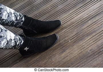 Wearing sport shoes