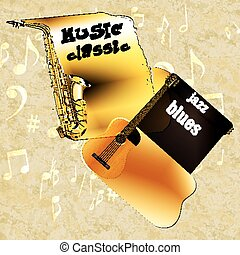 music background classic guitar saxophone