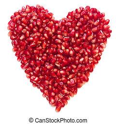 garnet grains heart isolated on white background