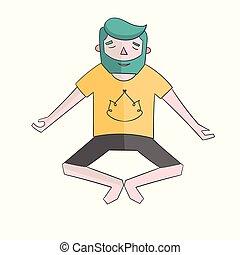Meditation man vivid color vector illustration - Meditation...