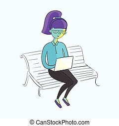 Young girl working with laptop vivid color vector - Young...