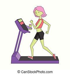 Girl run treadmill vivid color vector illustration - Girl...