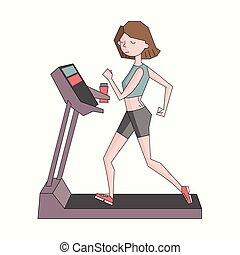 Girl run treadmill color vector illustration - Girl run...