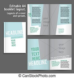 A4 book Layout Design Template with Cover and 2 spreads of...