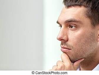 close up of businessman male face - business, people and...