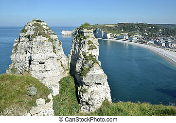 Famous cliffs of Etretat in France - The two peaks of La...