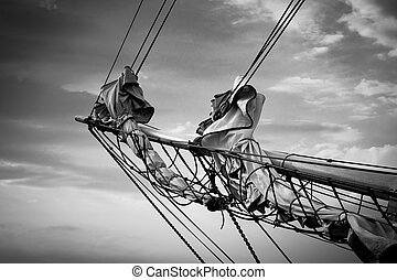 Detail of a sailing ship on the Baltic Sea in Rostock...