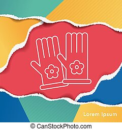 Working gloves line icon