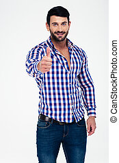Casual happy man showing thumb up - Portrait of a casual...