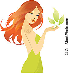 beautiful girl with green leaf