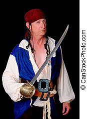 Pirate isolated on black with a cutless