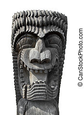 Tiki Man - Carved tiki idol on white background