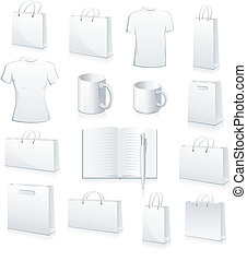 white collection of shopping bags, football jersey, cup,...