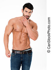 atlético, confiante, pelado,  torso, homem