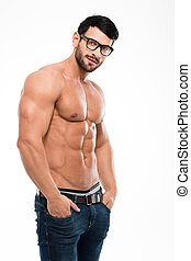 atlético, Retrato, pelado,  torso, homem