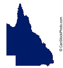 Queensland State Silhouette - Silhouette map of the...