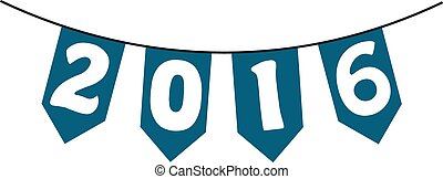 Happy New Year 2016 From Vector bunting and garland