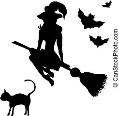 Halloween banner .The witch on a sweeper. Vector illustration