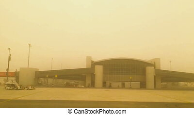 Larnaca Airport take-off during a sandstorm POV - Cyprus...