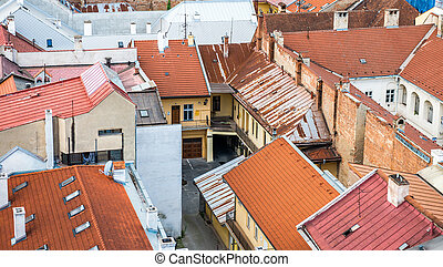 historic center of Kosice - aerial view on the historic...