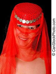 Harem Girl - Beautiful arabian style dancer with red veil