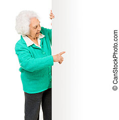 elderly woman alongside of ad board over white background