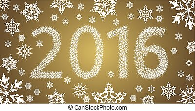 Happy New Year 2016 From Stars With White Snowflakes