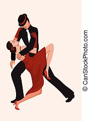 Abstract dancing couple - Dancing couple performing a...
