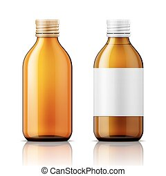 White plastic bottle for pills - Template of brown glass...