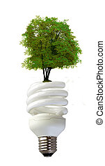 Spiral bulb with tree - A spiral bulb over white background,...