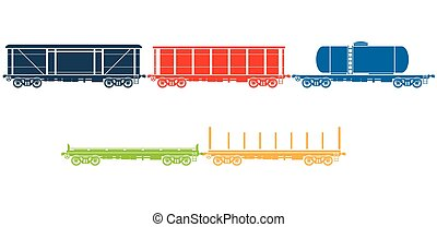 Set of Railway freight cars - Vector illustration - Set of...