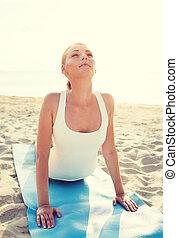mujer,  yoga, joven, Aire libre, ejercicios, Elaboración