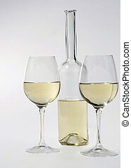 white wine - a bottle and two glasses of white wine