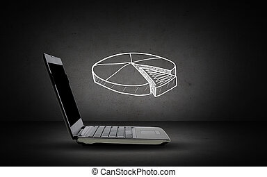 open laptop computer with pie chart doodle - technology,...