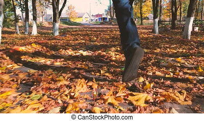 Close up feet man running in the autumn park.