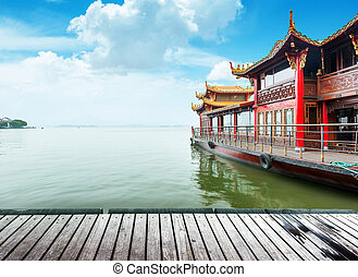 Hangzhou - Traditional ship at the Xihu (West lake),...