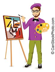 happy male painter artist with glasses