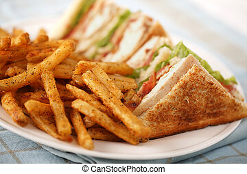 simple club sandwich - chicken club sandwich on a white...