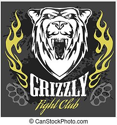 Grizzly bear head - emblem. - Grizzly bear head and flames -...