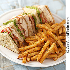classic club sandwich - chicken club sandwich on a white...