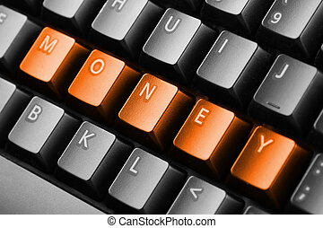 Word money written with keyboard buttons