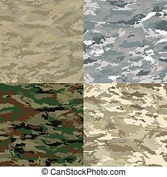 Vector camouflage - Khaki camouflage backgrounds - vector...
