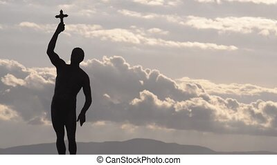 A statue in Ohrid Macedonia named Catcher of a Cross - Video...