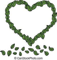 illustration vector doodle hand drawn green leaves in the shape of heart, ecology concept.