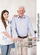 Problems with walking - Elder man has problems with walking