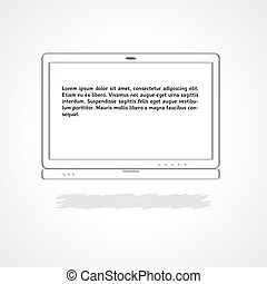 laptop with sample text - linear illustration, laptop with...