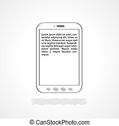 phone with sample text - linear illustration, phone with...