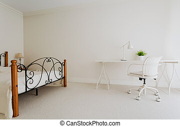Bedroom in minimalist style - Picture of white bedroom in...
